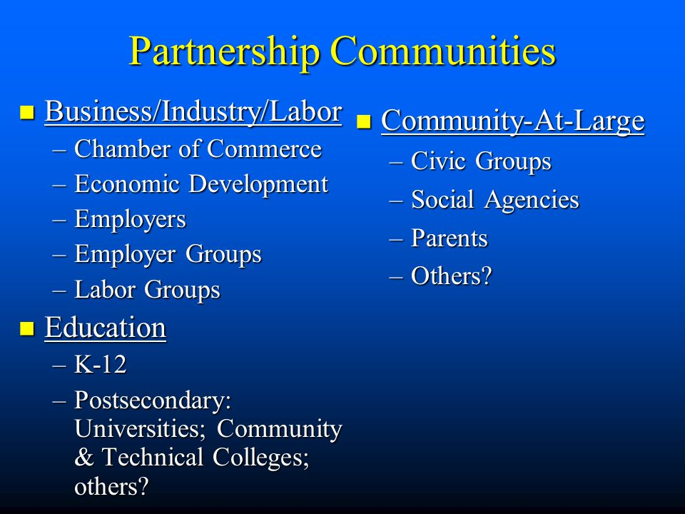 Partnership Communities Business/Industry/Labor Business/Industry/Labor –Chamber of Commerce –Economic Development –Employers –Employer Groups –Labor Groups Education Education –K-12 –Postsecondary: Universities; Community & Technical Colleges; others.