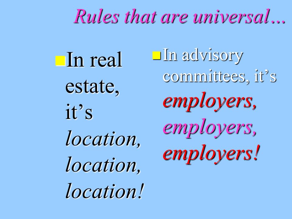 Rules that are universal… In real estate, it's location, location, location.