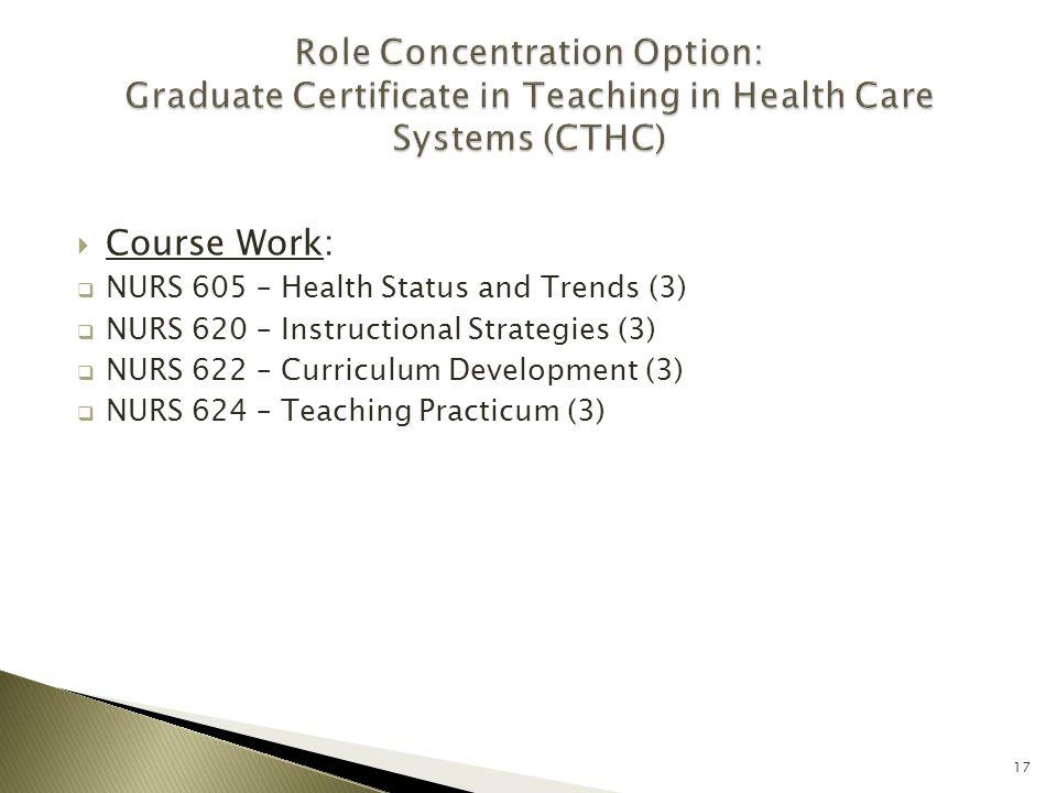  Course Work:  NURS 605 – Health Status and Trends (3)  NURS 620 – Instructional Strategies (3)  NURS 622 – Curriculum Development (3)  NURS 624