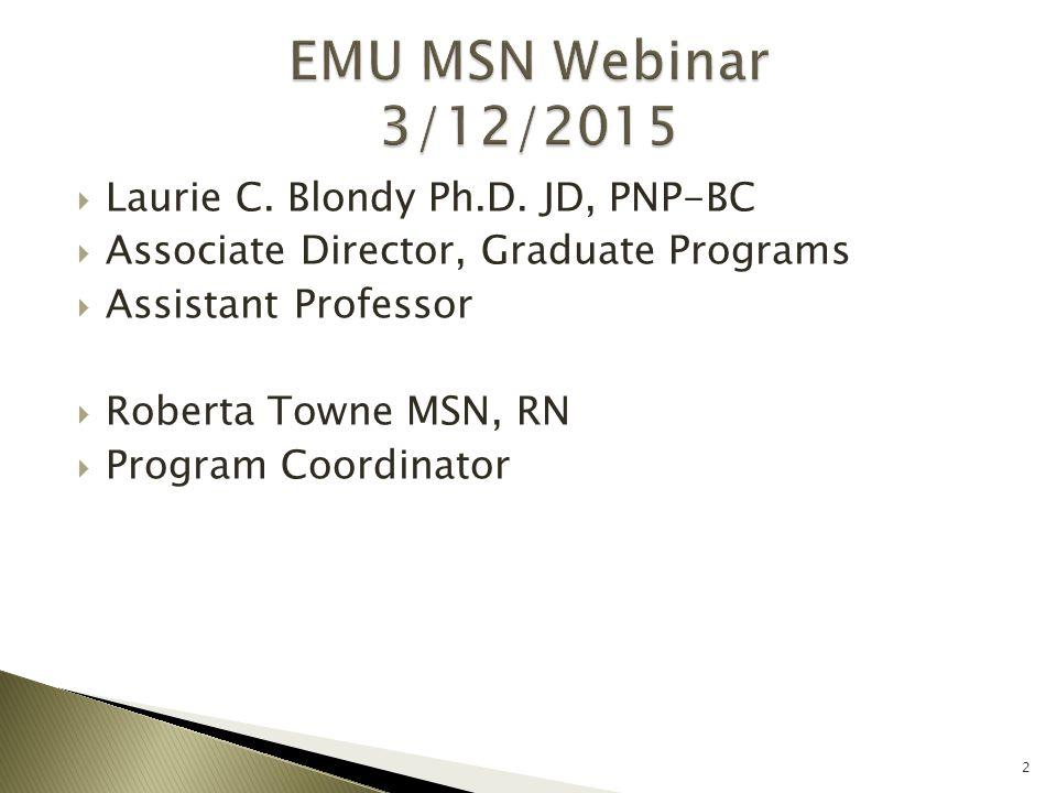  Laurie C. Blondy Ph.D. JD, PNP-BC  Associate Director, Graduate Programs  Assistant Professor  Roberta Towne MSN, RN  Program Coordinator 2