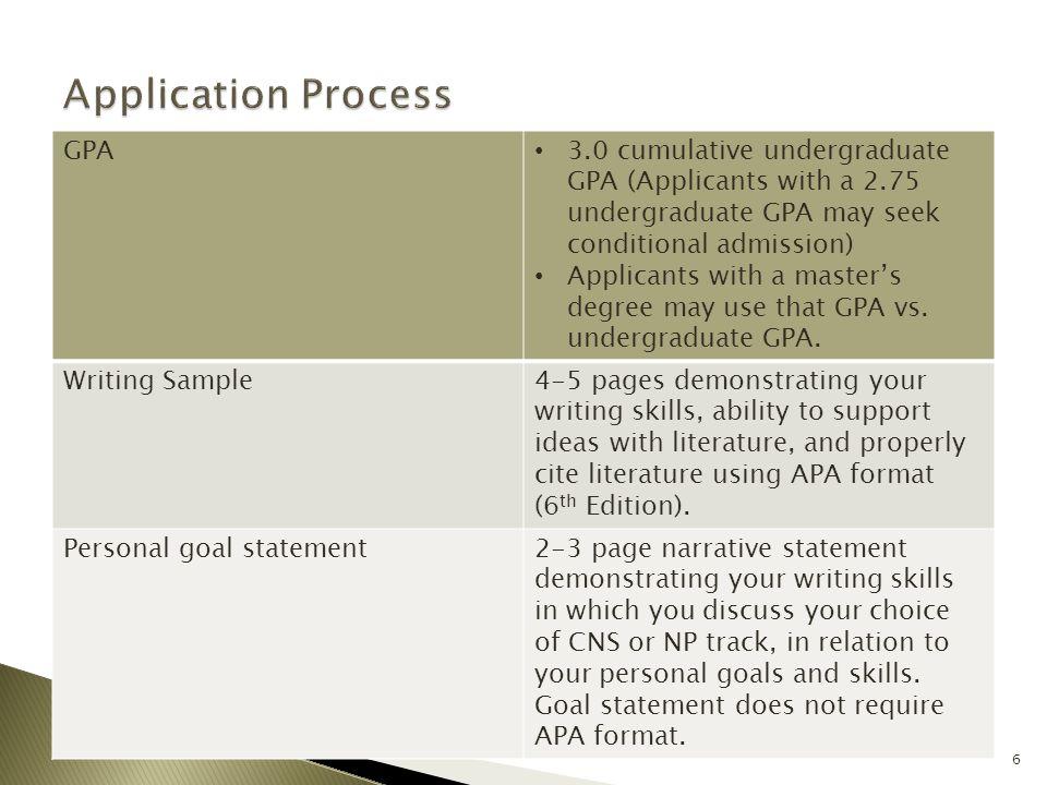GPA 3.0 cumulative undergraduate GPA (Applicants with a 2.75 undergraduate GPA may seek conditional admission) Applicants with a master's degree may u
