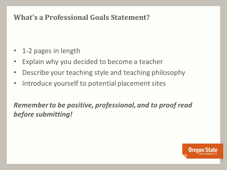 What's a Professional Goals Statement.
