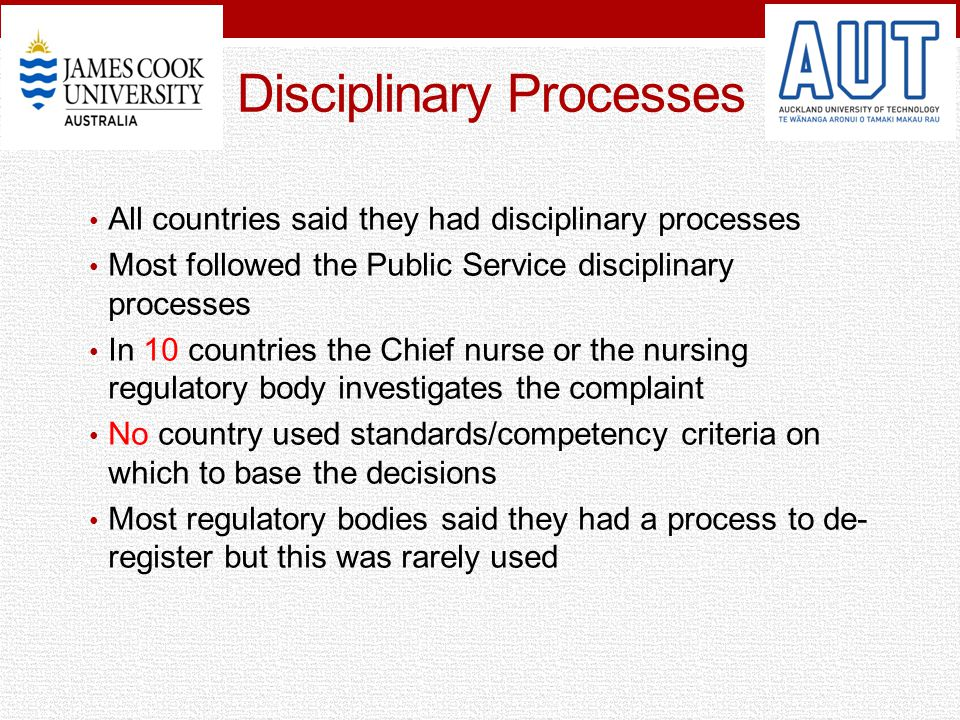 Disciplinary Processes All countries said they had disciplinary processes Most followed the Public Service disciplinary processes In 10 countries the