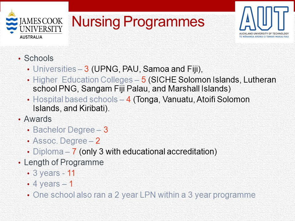 Nursing Programmes Schools Universities – 3 (UPNG, PAU, Samoa and Fiji), Higher Education Colleges – 5 (SICHE Solomon Islands, Lutheran school PNG, Sa