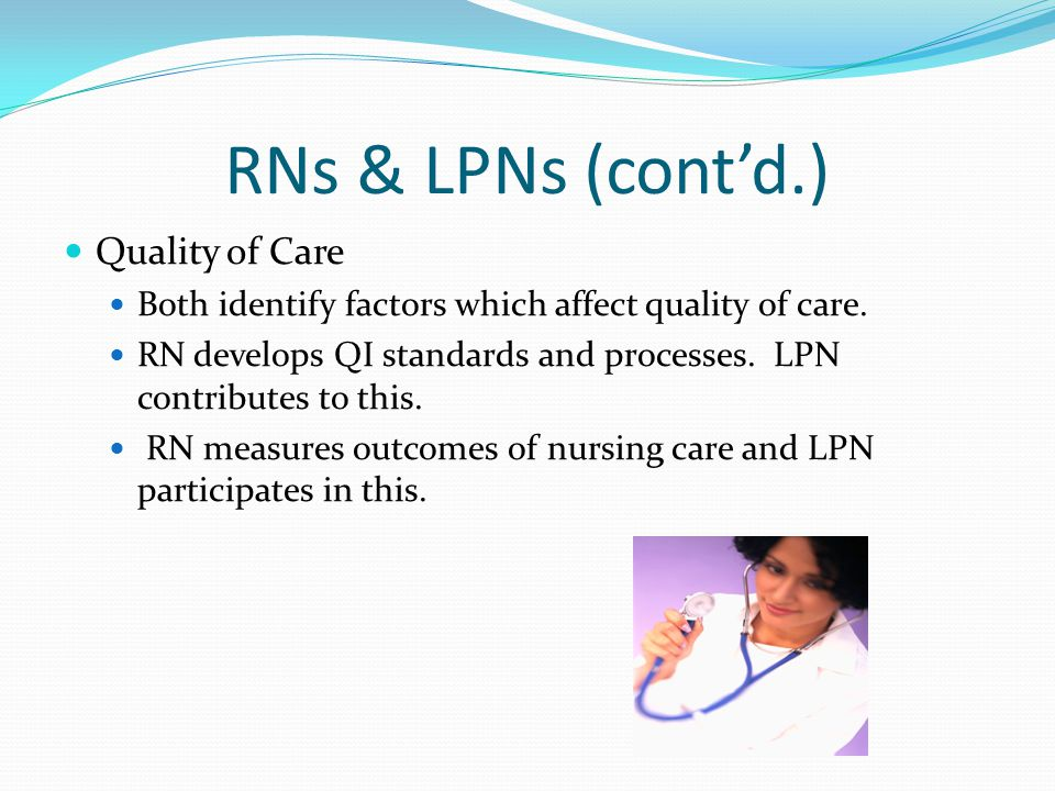 RNs & LPNs (cont'd.) Quality of Care Both identify factors which affect quality of care.