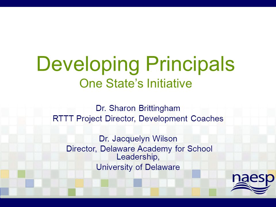 Developing Principals One State's Initiative Dr. Sharon Brittingham RTTT Project Director, Development Coaches Dr. Jacquelyn Wilson Director, Delaware