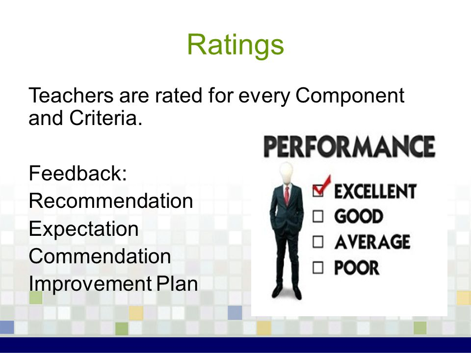 Ratings Teachers are rated for every Component and Criteria. Feedback: Recommendation Expectation Commendation Improvement Plan