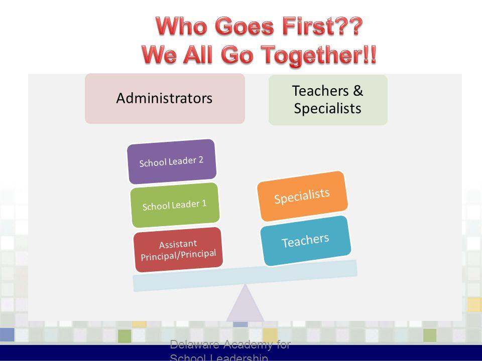 Administrators Teachers & Specialists Assistant Principal/Principal School Leader 1School Leader 2 TeachersSpecialists