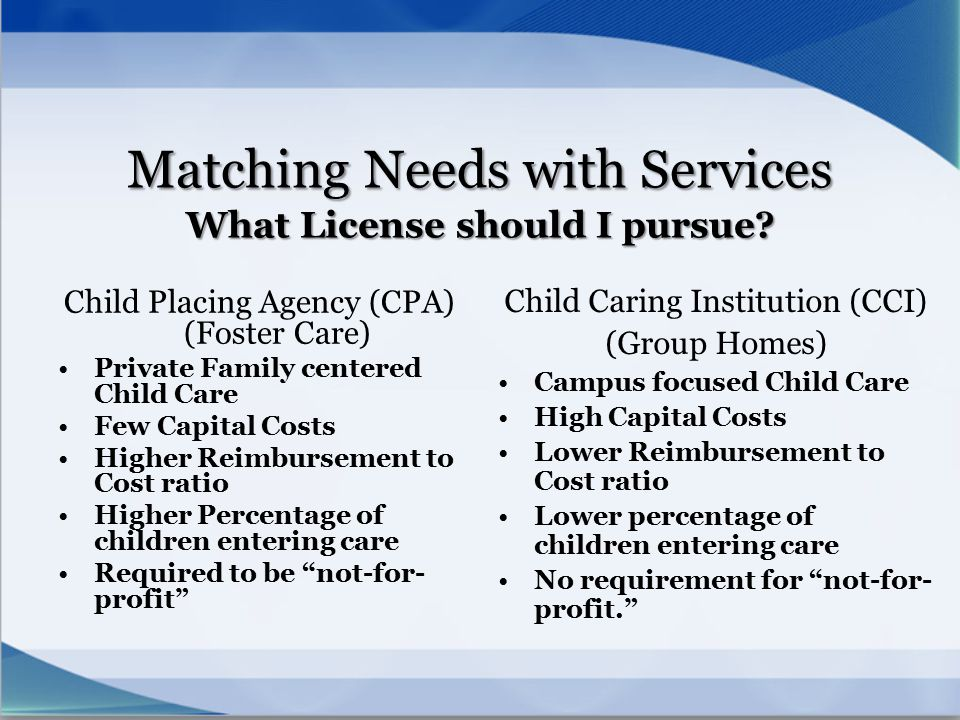 Matching Needs with Services What License should I pursue? Child Placing Agency (CPA) (Foster Care) Private Family centered Child Care Few Capital Cos