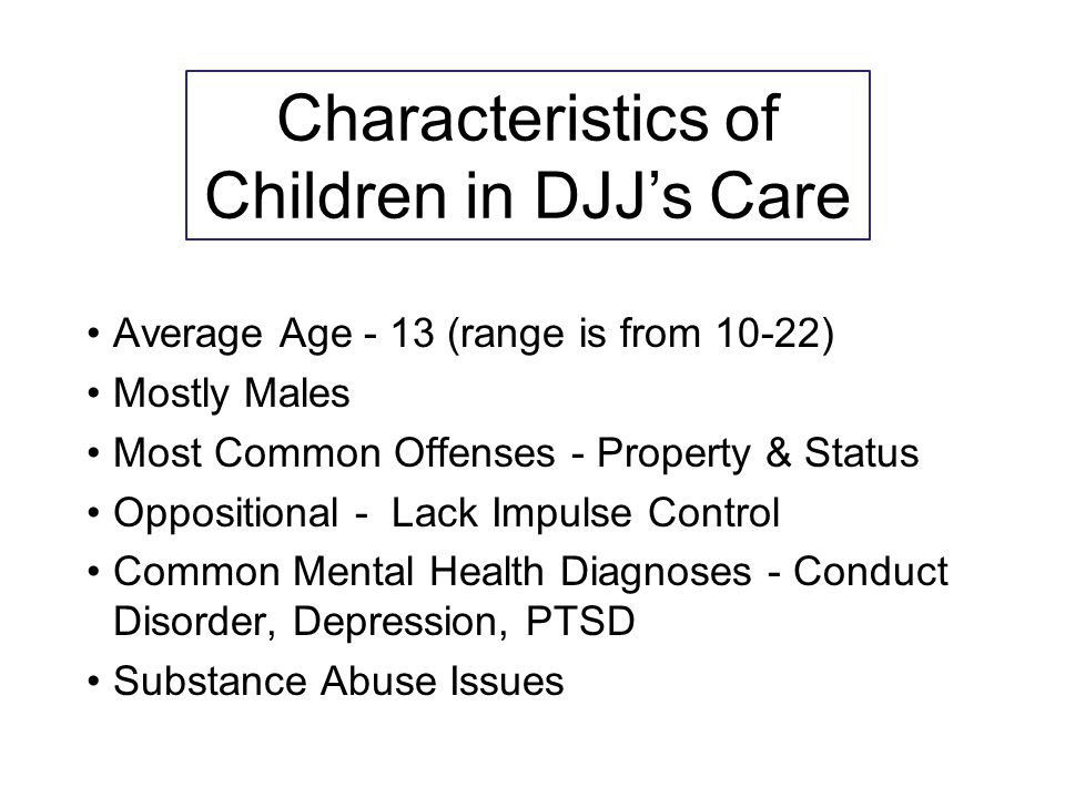 Average Age - 13 (range is from 10-22) Mostly Males Most Common Offenses - Property & Status Oppositional - Lack Impulse Control Common Mental Health