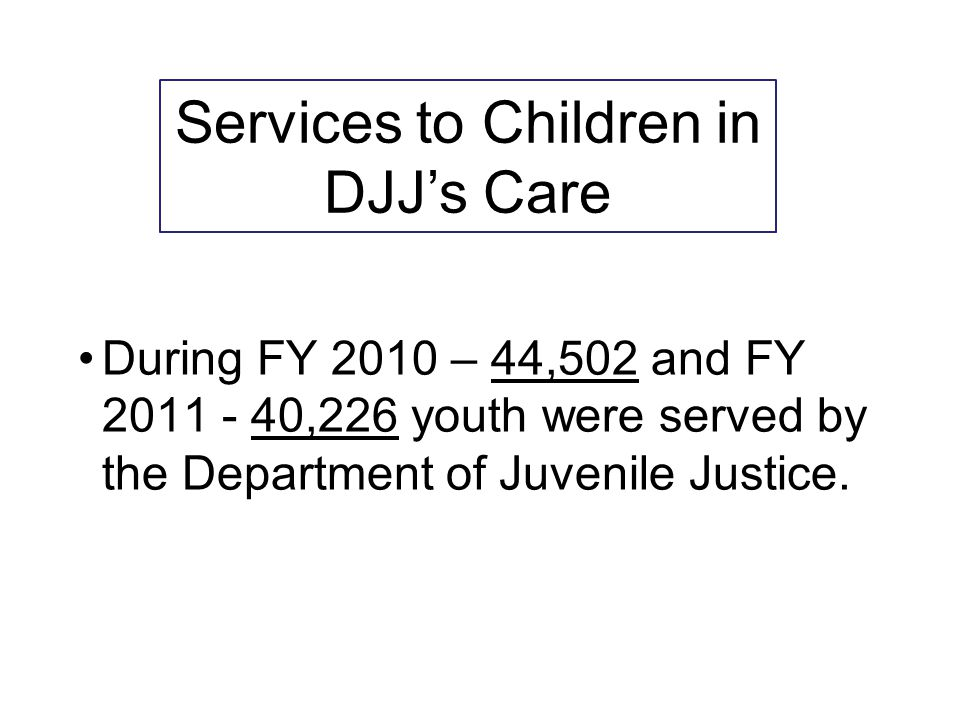 During FY 2010 – 44,502 and FY 2011 - 40,226 youth were served by the Department of Juvenile Justice. Services to Children in DJJ's Care