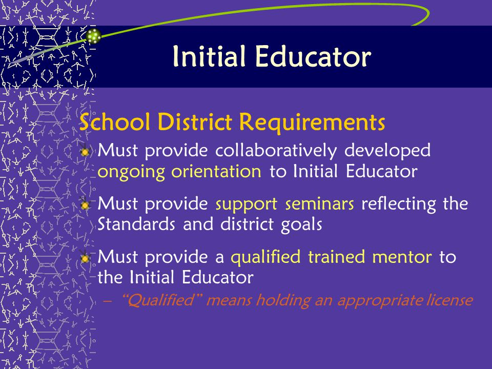 Initial Educator School District Requirements Must provide collaboratively developed ongoing orientation to Initial Educator Must provide support semi
