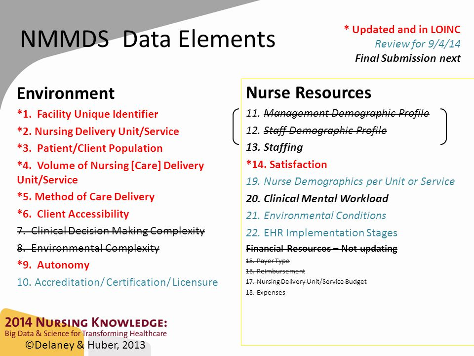 Accomplishments NMMDS 2007 10 Nursing delivery unit/service accreditation 11 Management demographic profile 12 Staff demographic profile 08 Environmental complexity Updated NMMDS & LOINC 10 Accreditation/ Certification/ Licensure 19 Nurse demographics per unit or service 21 Environmental condition 22 EHR implementation stages