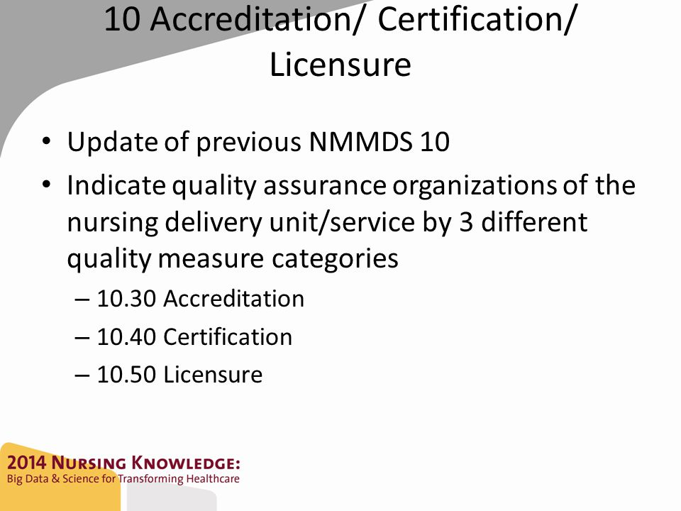 10 Accreditation/ Certification/ Licensure Update of previous NMMDS 10 Indicate quality assurance organizations of the nursing delivery unit/service b