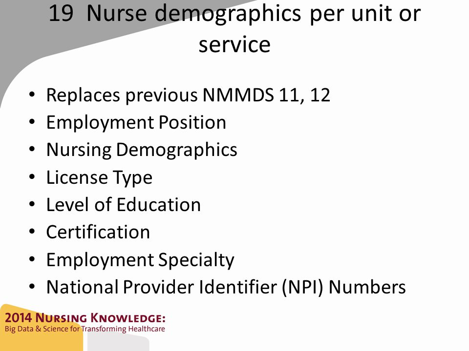19 Nurse demographics per unit or service Replaces previous NMMDS 11, 12 Employment Position Nursing Demographics License Type Level of Education Certification Employment Specialty National Provider Identifier (NPI) Numbers