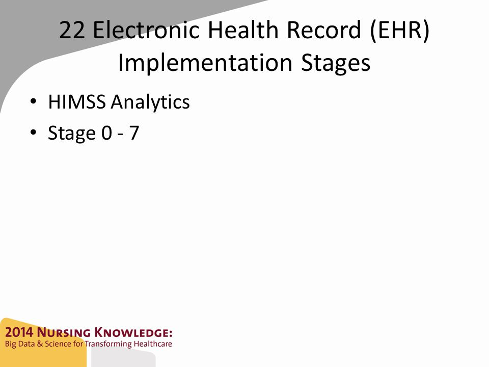 22 Electronic Health Record (EHR) Implementation Stages HIMSS Analytics Stage 0 - 7