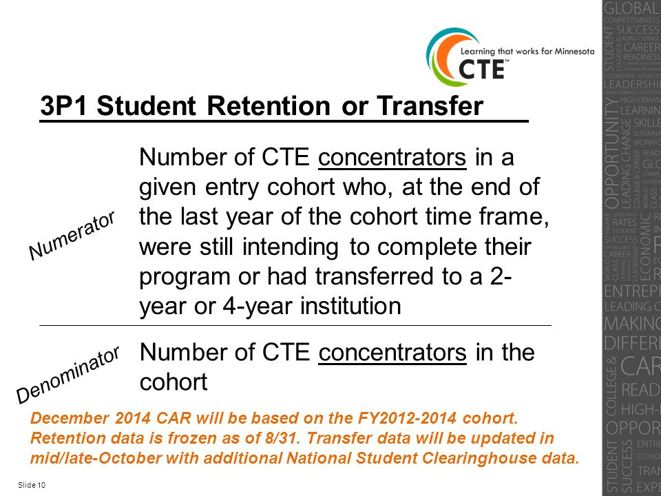 3P1 Student Retention or Transfer Numerator Number of CTE concentrators in a given entry cohort who, at the end of the last year of the cohort time fr