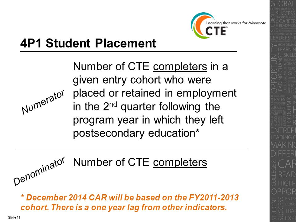 4P1 Student Placement Numerator Number of CTE completers in a given entry cohort who were placed or retained in employment in the 2 nd quarter followi