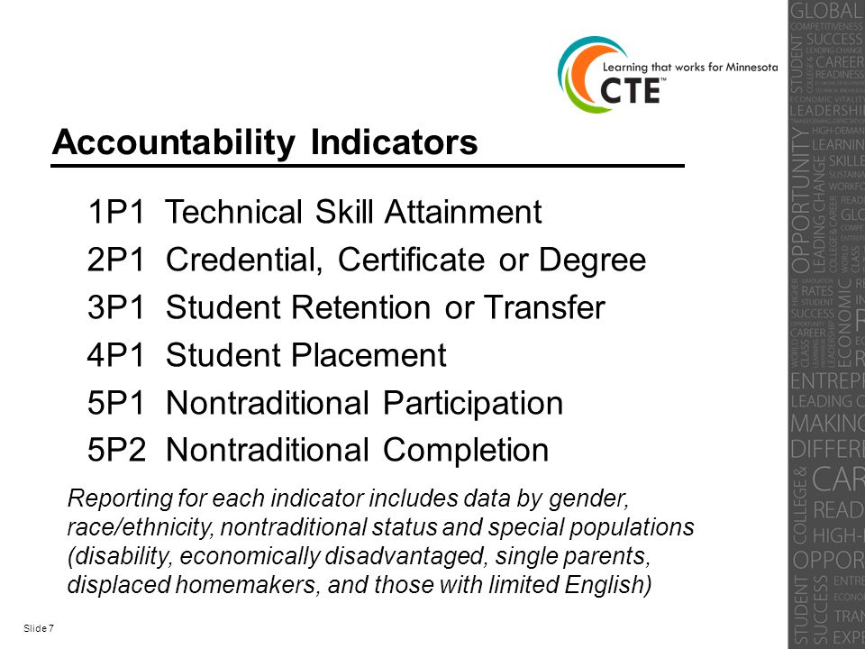 Accountability Indicators 1P1 Technical Skill Attainment 2P1 Credential, Certificate or Degree 3P1 Student Retention or Transfer 4P1 Student Placement 5P1 Nontraditional Participation 5P2 Nontraditional Completion Reporting for each indicator includes data by gender, race/ethnicity, nontraditional status and special populations (disability, economically disadvantaged, single parents, displaced homemakers, and those with limited English) Slide 7