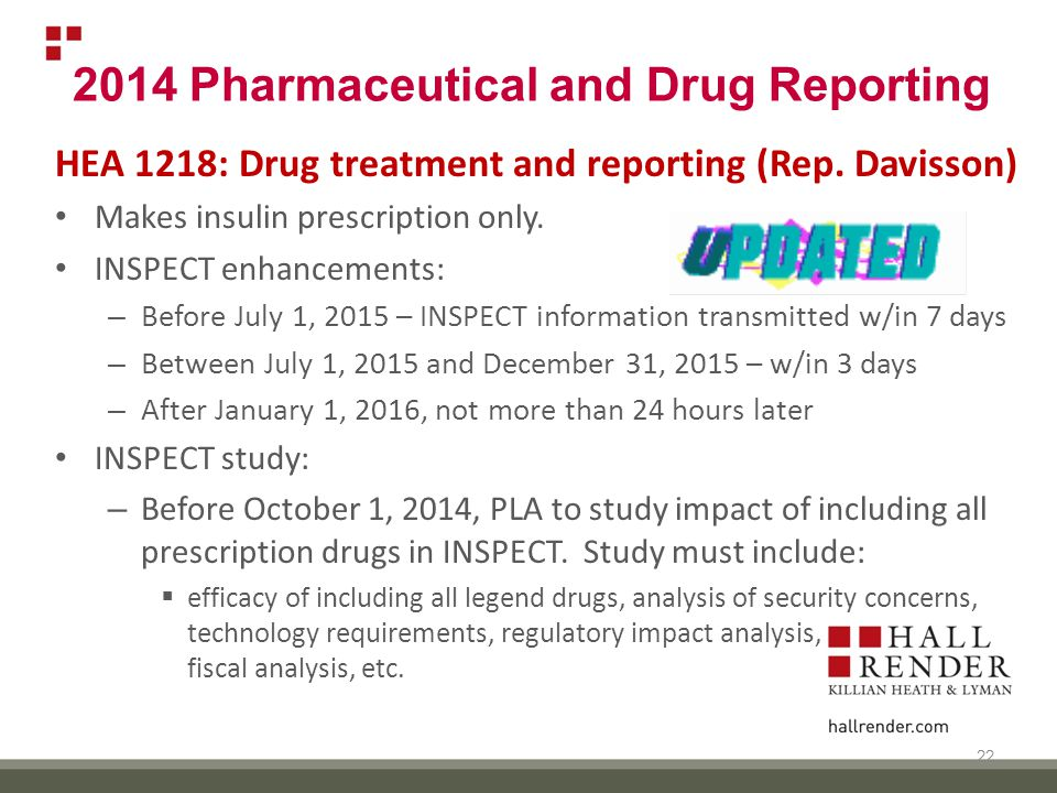 2014 Pharmaceutical and Drug Reporting HEA 1218: Drug treatment and reporting (Rep.