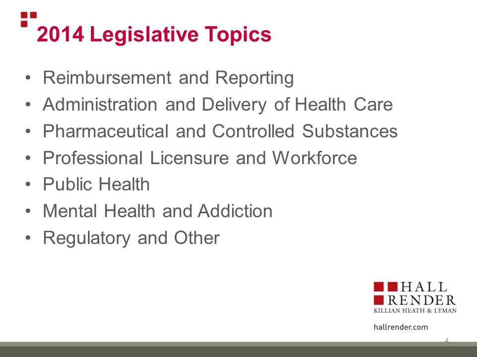 2014 Legislative Topics Reimbursement and Reporting Administration and Delivery of Health Care Pharmaceutical and Controlled Substances Professional Licensure and Workforce Public Health Mental Health and Addiction Regulatory and Other 4