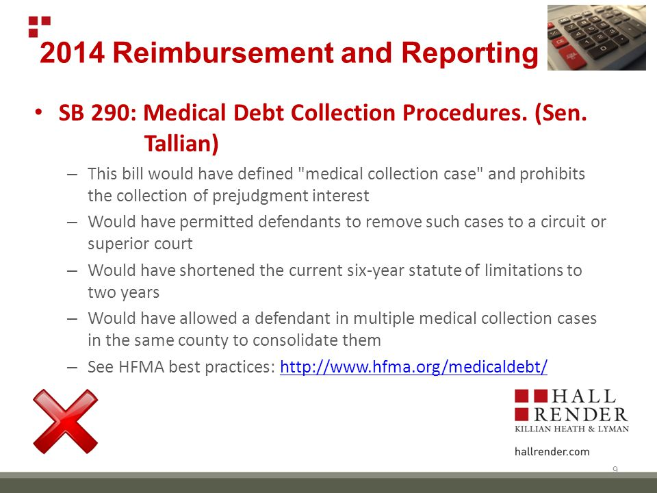2014 Reimbursement and Reporting SB 290: Medical Debt Collection Procedures.