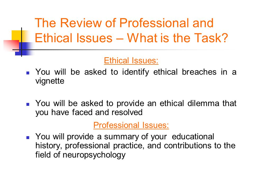 The Review of Professional and Ethical Issues – What is the Task? Ethical Issues: You will be asked to identify ethical breaches in a vignette You wil