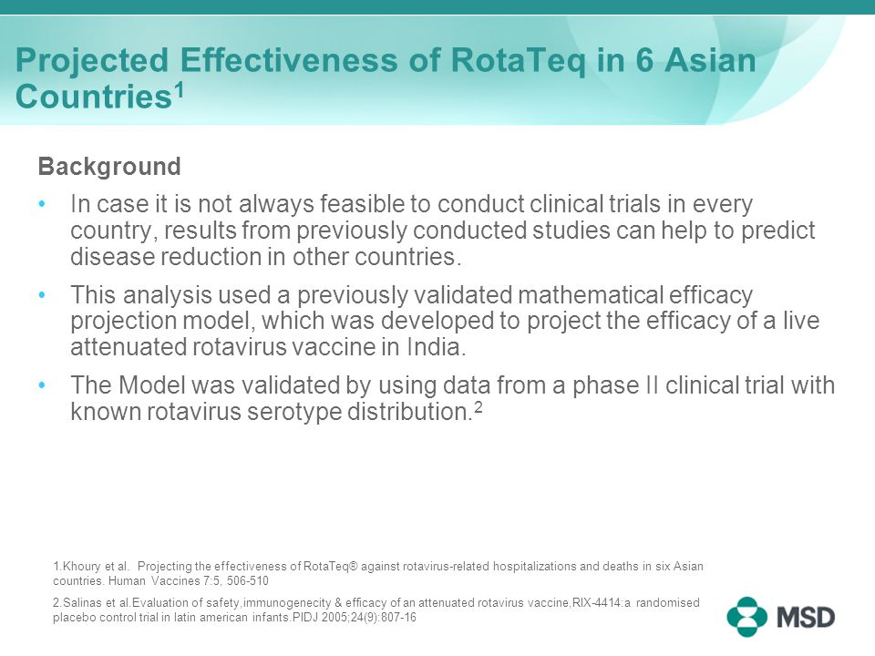 Projected Effectiveness of RotaTeq in 6 Asian Countries 1 Background In case it is not always feasible to conduct clinical trials in every country, results from previously conducted studies can help to predict disease reduction in other countries.