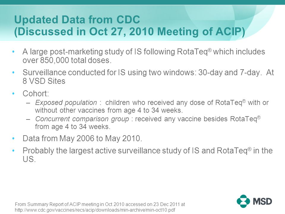 Updated Data from CDC (Discussed in Oct 27, 2010 Meeting of ACIP) IS Cases −31 cases of IS out of 850,000 RotaTeq ® doses.
