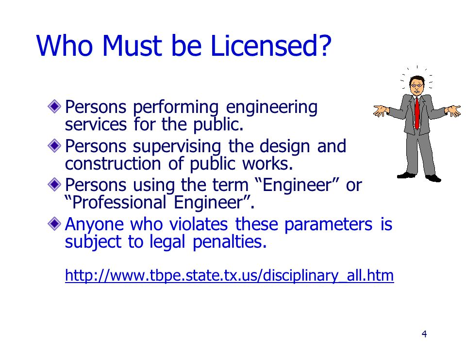 Requirements for Licensing 1.Formal Education 2. Practical Experience 3.