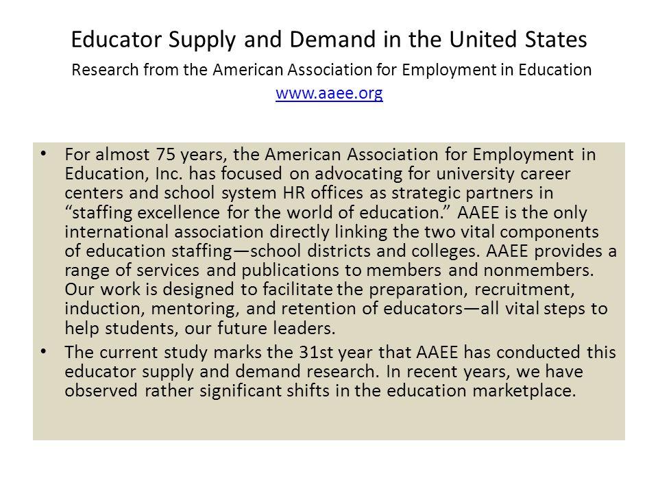 Factors Affecting Supply of Educators AAEE Supply and Demand 2007 Report Factors Affecting Supply of Educators, cont.