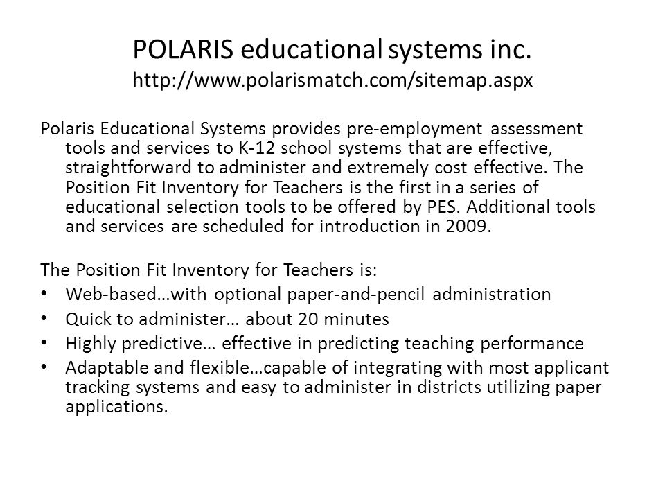 POLARIS educational systems inc.