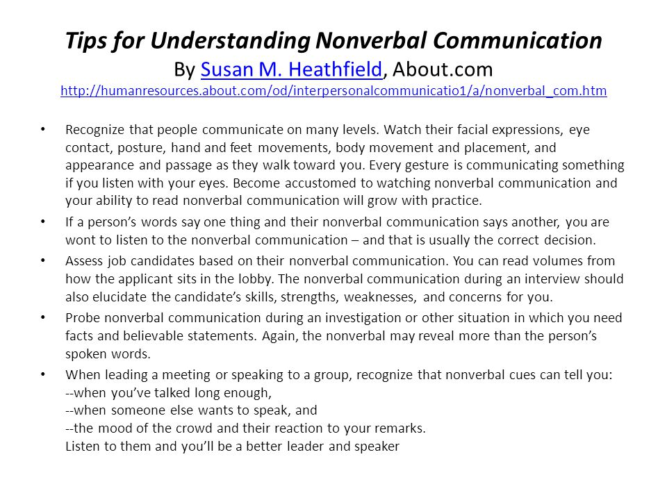 Tips for Understanding Nonverbal Communication By Susan M.