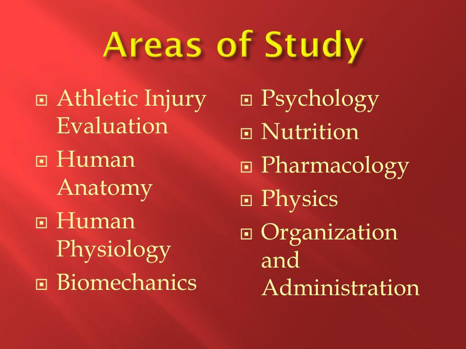  Athletic Injury Evaluation  Human Anatomy  Human Physiology  Biomechanics  Psychology  Nutrition  Pharmacology  Physics  Organization and Administration