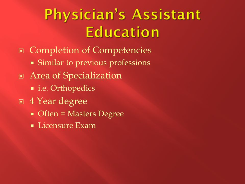  Completion of Competencies  Similar to previous professions  Area of Specialization  i.e.