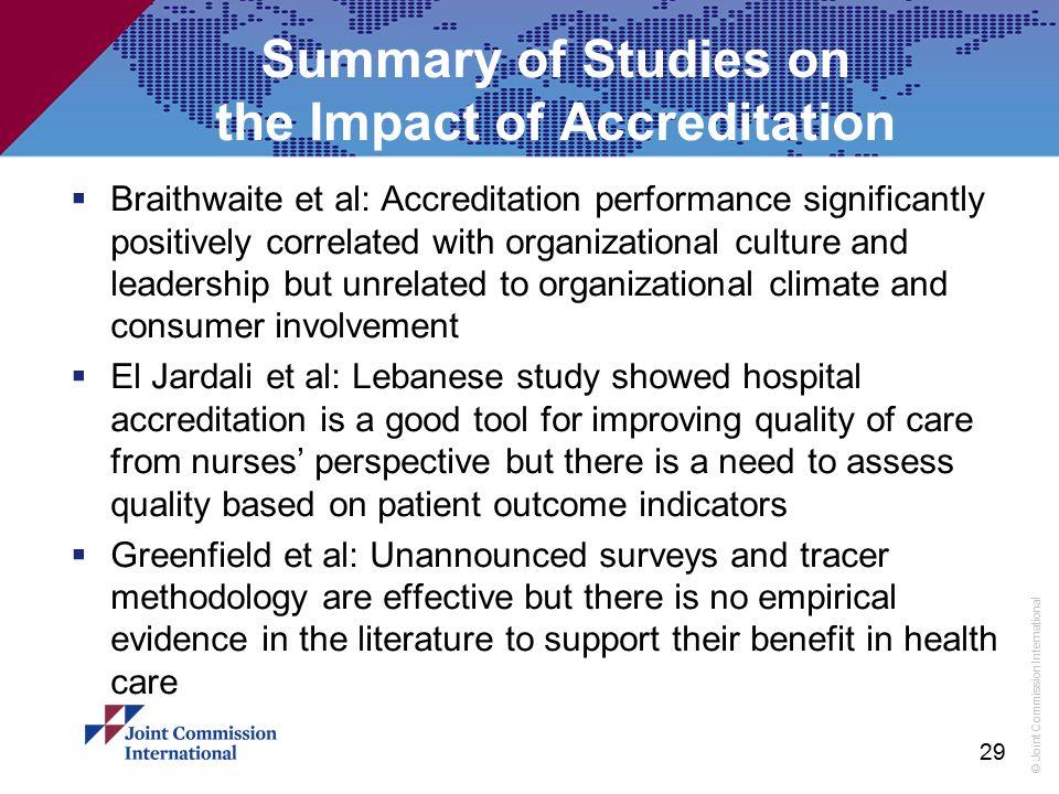 © Joint Commission International Summary of Studies on the Impact of Accreditation  Braithwaite et al: Accreditation performance significantly positi