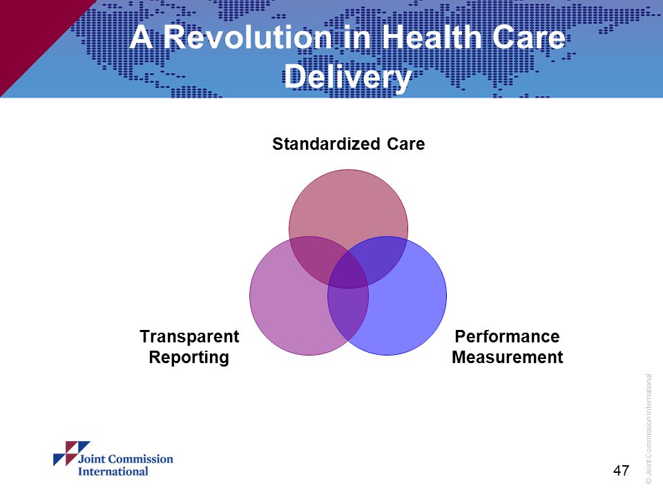 © Joint Commission International 47 A Revolution in Health Care Delivery Standardized Care Performance Measurement Transparent Reporting