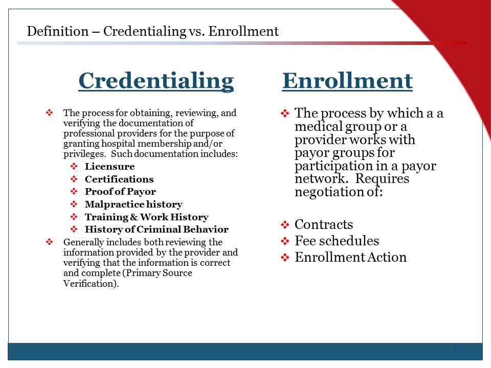 p. 13 Credentialing Enrollment  The process by which a a medical group or a provider works with payor groups for participation in a payor network. Re