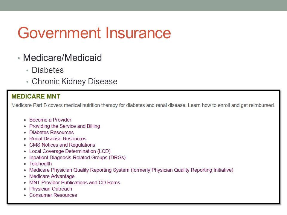 Government Insurance Medicare/Medicaid Diabetes Chronic Kidney Disease