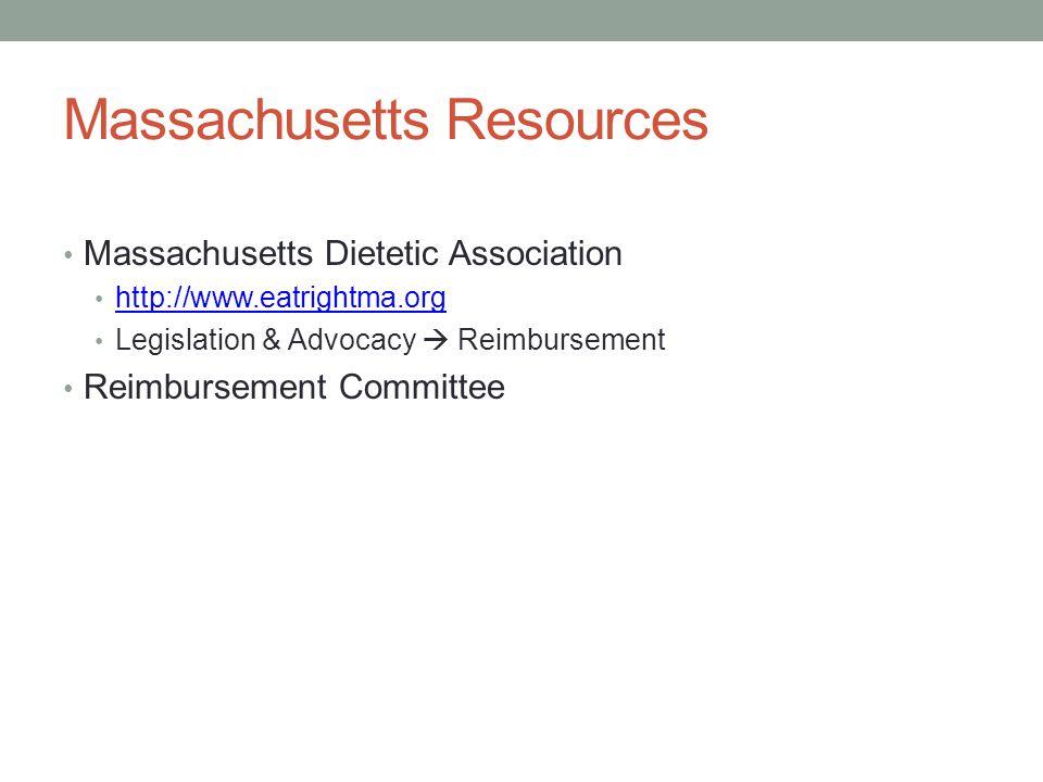 Massachusetts Resources Massachusetts Dietetic Association http://www.eatrightma.org Legislation & Advocacy  Reimbursement Reimbursement Committee