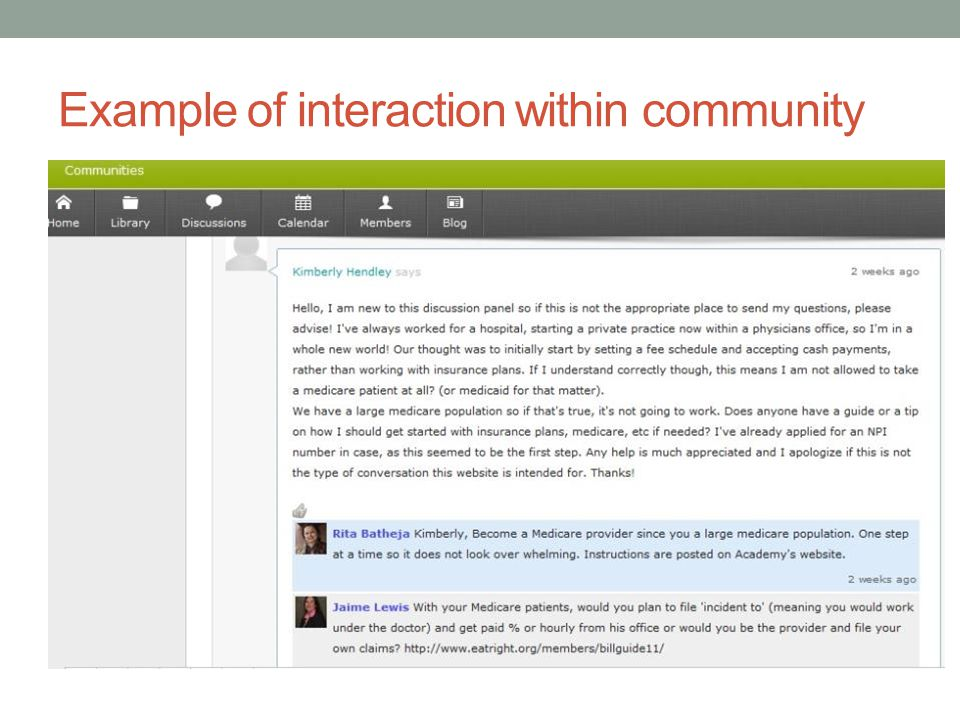 Example of interaction within community