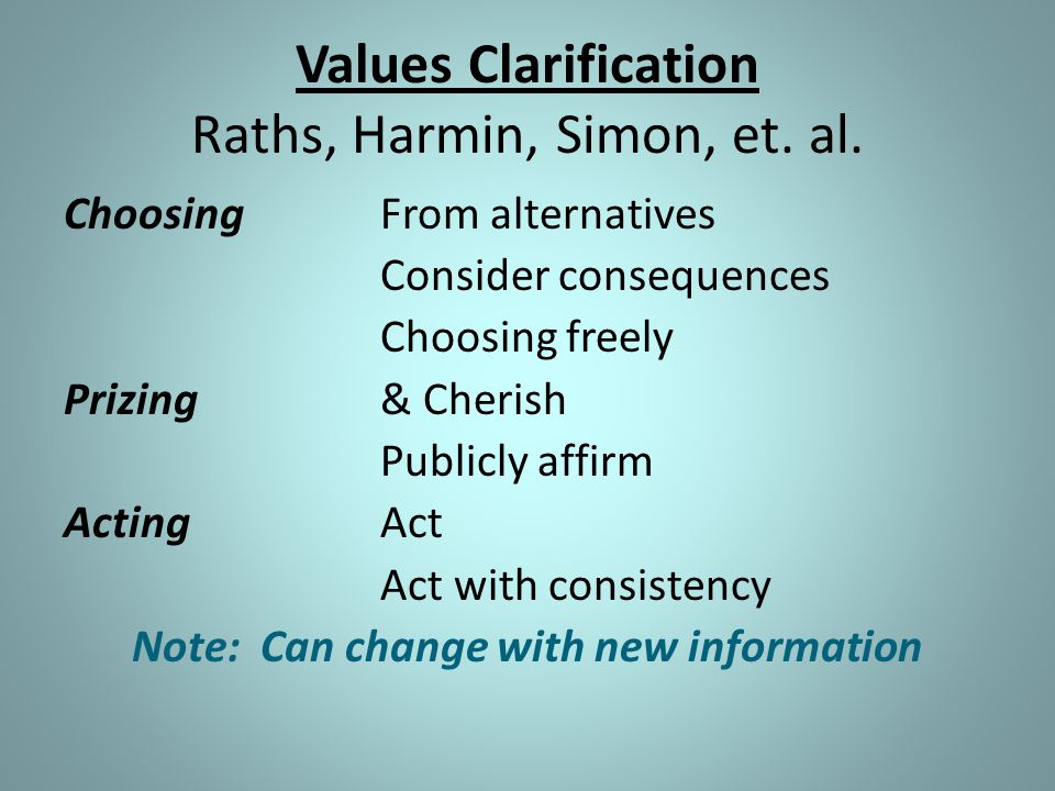 Values Clarification Raths, Harmin, Simon, et. al.
