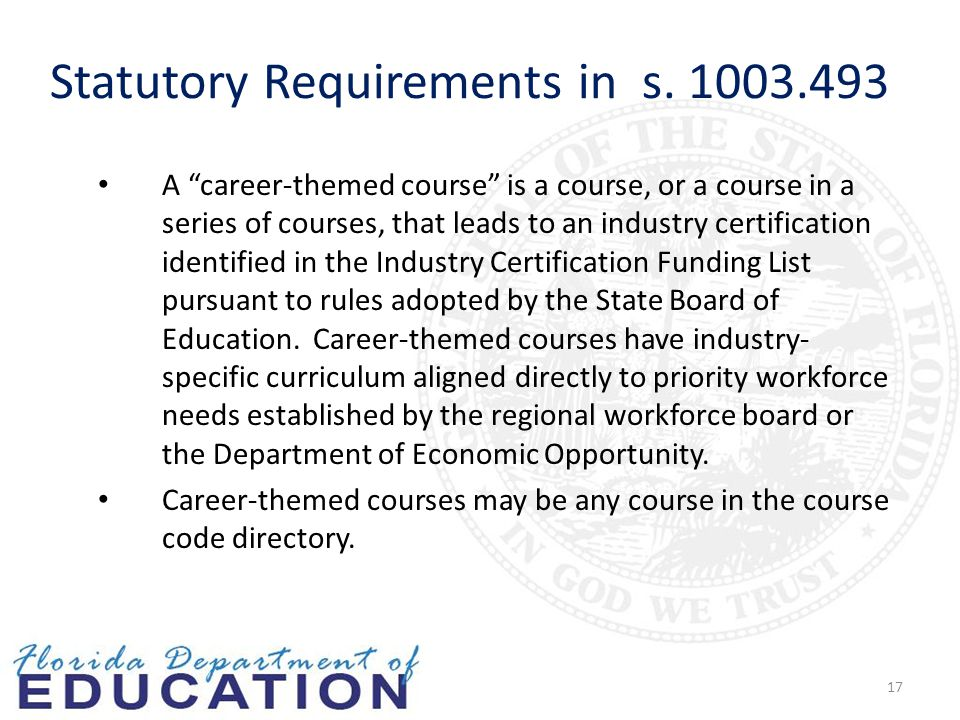 17 A career-themed course is a course, or a course in a series of courses, that leads to an industry certification identified in the Industry Certification Funding List pursuant to rules adopted by the State Board of Education.