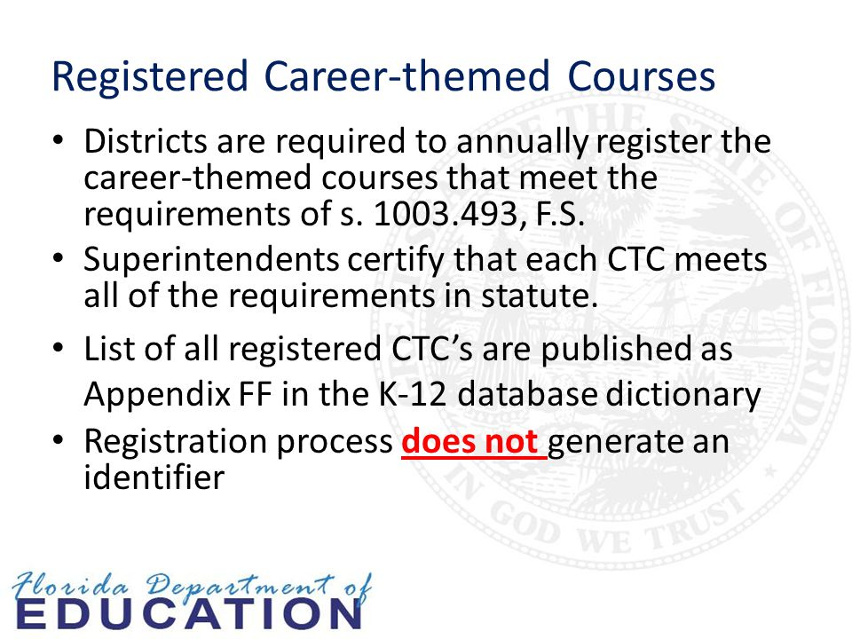 Registered Career-themed Courses Districts are required to annually register the career-themed courses that meet the requirements of s.
