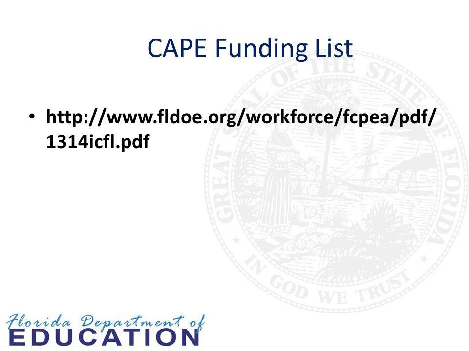 CAPE Funding List http://www.fldoe.org/workforce/fcpea/pdf/ 1314icfl.pdf