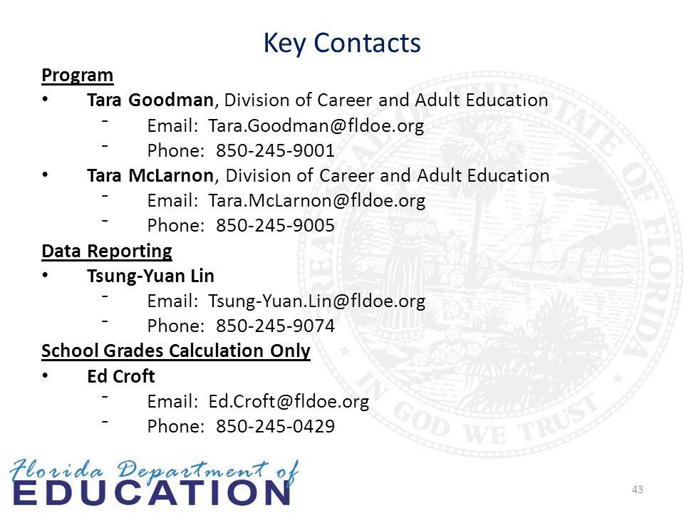 Key Contacts Program Tara Goodman, Division of Career and Adult Education ⁻Email: Tara.Goodman@fldoe.org ⁻Phone: 850-245-9001 Tara McLarnon, Division of Career and Adult Education ⁻Email: Tara.McLarnon@fldoe.org ⁻Phone: 850-245-9005 Data Reporting Tsung-Yuan Lin ⁻Email: Tsung-Yuan.Lin@fldoe.org ⁻Phone: 850-245-9074 School Grades Calculation Only Ed Croft ⁻Email: Ed.Croft@fldoe.org ⁻Phone: 850-245-0429 43
