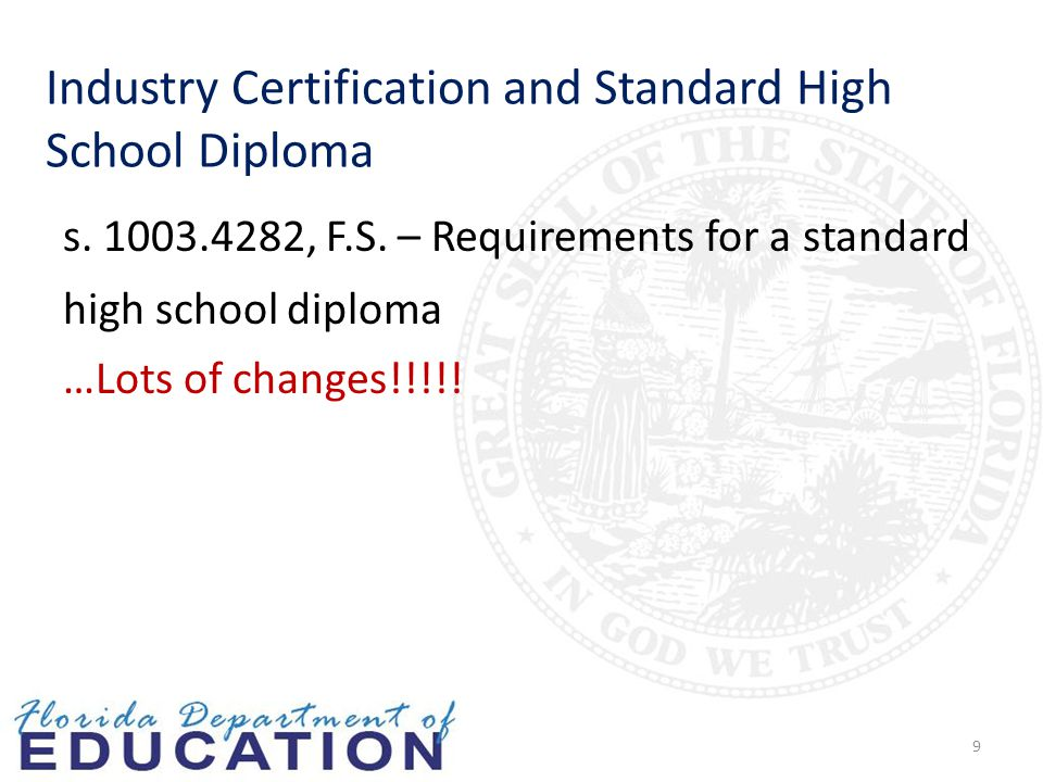 Industry Certification and Standard High School Diploma s.