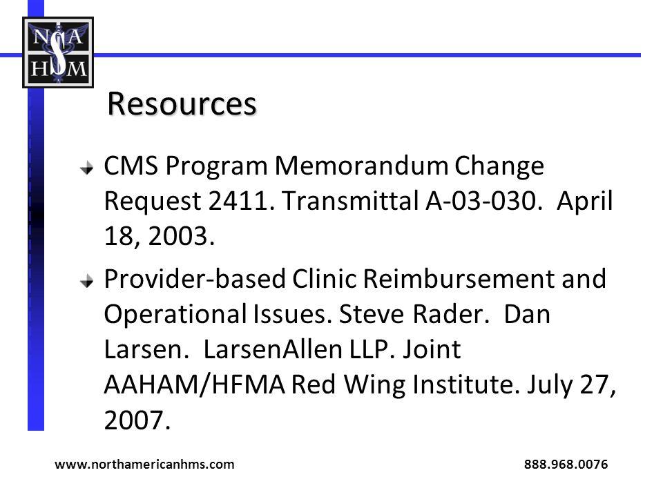 Resources CMS Program Memorandum Change Request 2411.