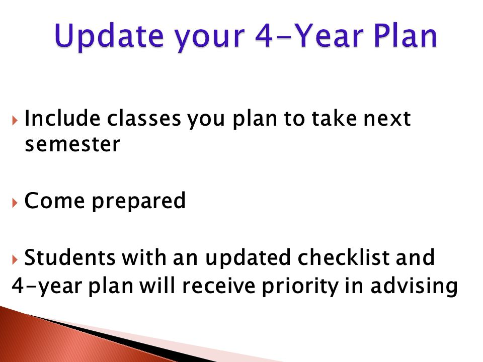  Include classes you plan to take next semester  Come prepared  Students with an updated checklist and 4-year plan will receive priority in advisin
