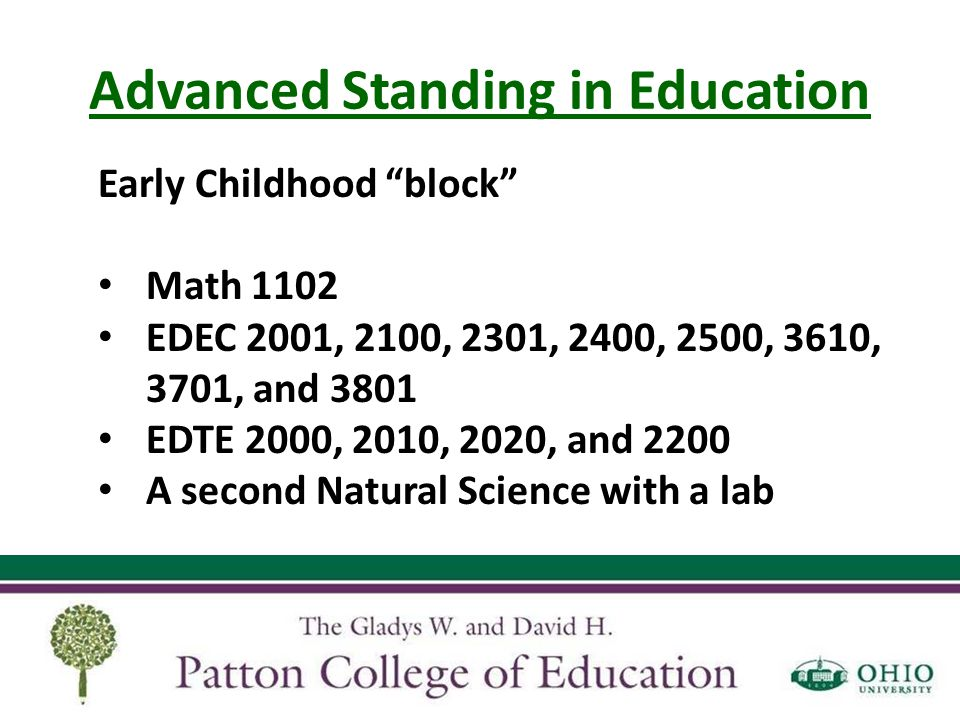 Advanced Standing in Education Think you're ready for advanced standing.